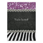 Zebra Black Purple Glitter Look Bridal Shower 14 Cm X 19 Cm Invitation Card
