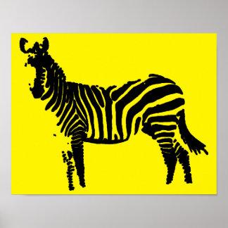 Zebra Black Silhouette Poster