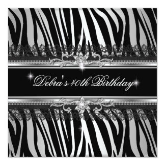 Zebra Black Silver White 40th Birthday Party Card