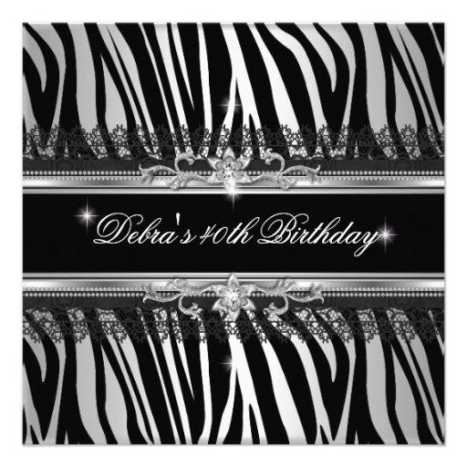 Zebra Black Silver White 40th Birthday Party Custom Invitations