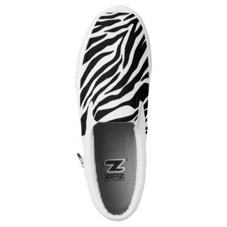 Zebra Black & White  Zip Slip on Shoes