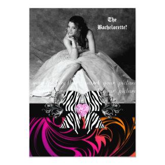 "Zebra Bow Bachelorette Party Photo Orange Purple 5"" X 7"" Invitation Card"