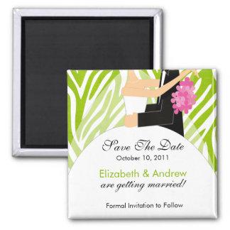 Zebra Bride Groom Save The Date Magnet