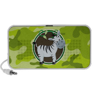 Zebra bright green camo camouflage laptop speakers