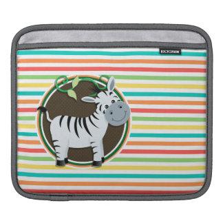 Zebra Bright Rainbow Stripes Sleeves For iPads