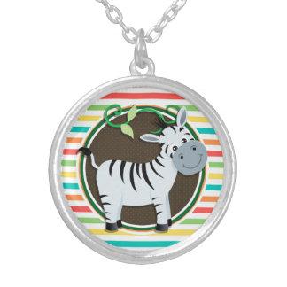 Zebra Bright Rainbow Stripes Necklace