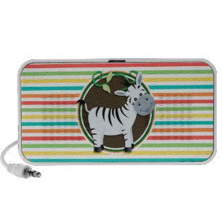 Zebra Bright Rainbow Stripes Portable Speakers