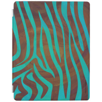 Zebra Brown and Teal Print iPad Cover