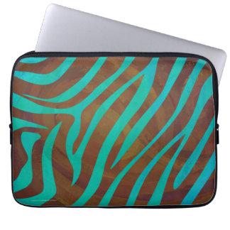 Zebra Brown and Teal Print Laptop Sleeve