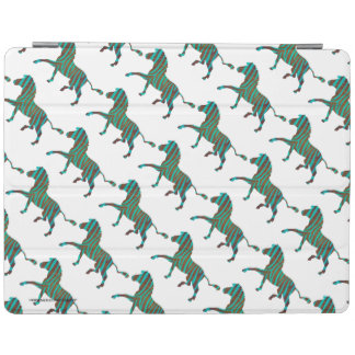Zebra Brown and Teal Print Silhouette iPad Cover