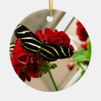 Zebra Butterfly Round Ceramic Decoration