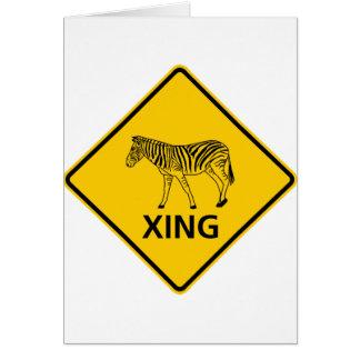 Zebra Crossing Highway Sign Greeting Card