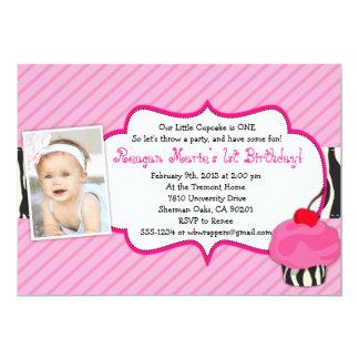 ZEBRA Cupcake Birthday Invitation - Girly