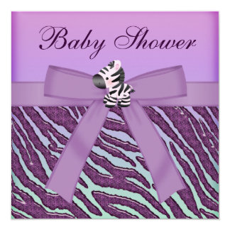 Zebra & Cupcakes Purple Baby Shower 13 Cm X 13 Cm Square Invitation Card