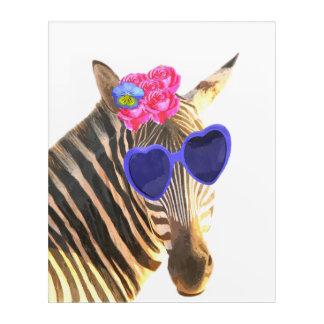 Zebra cute funny jungle animal watercolor acrylic wall art