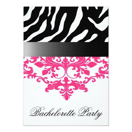 Zebra Damask Girl's Night Out Bachelorette Party Card ...
