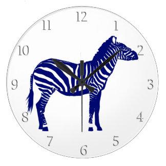 Zebra - Dark Cobalt Blue and White Wall Clocks
