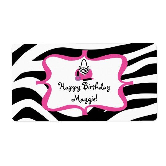 Zebra Diva Spa Birthday Water Bottle Label