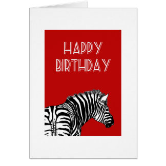 Zebra drawing, Happy Birthday. Card