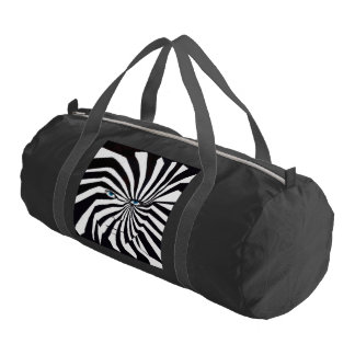 Zebra face in black and white duffle bag