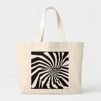 Zebra face in black and white tote bag