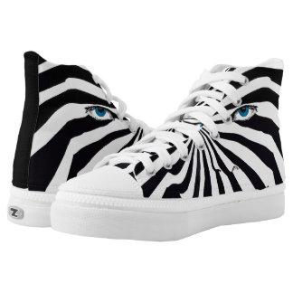 Zebra face lace tennis shoes printed shoes