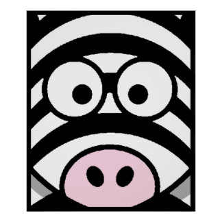 Zebra Face Poster