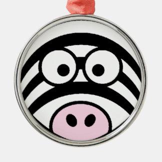 Zebra Face Silver-Colored Round Decoration