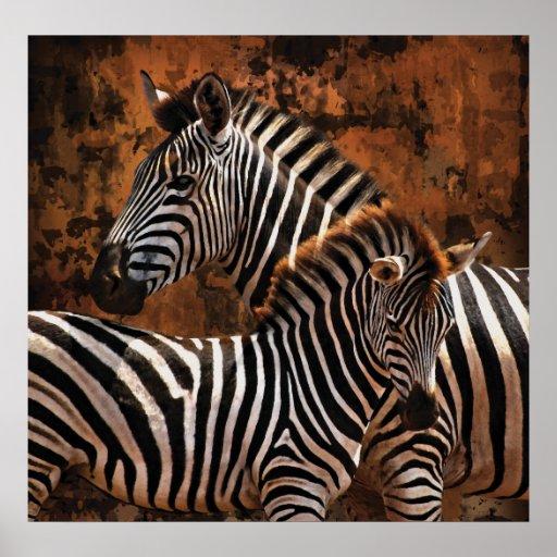 Zebra Fall Stripes LARGE poster, print, wall art