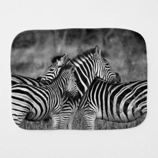 Zebra Family Baby Burp Cloths