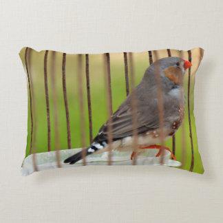 Zebra Finch Bird in Cage Decorative Cushion