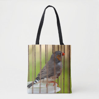 Zebra Finch Bird in Cage Tote Bag