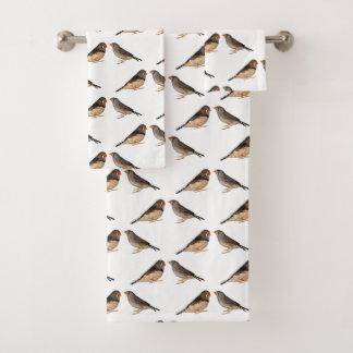Zebra Finch Frenzy Bathroom Towel Set
