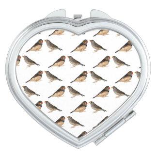 Zebra Finch Frenzy Compact Mirror (choose colour)