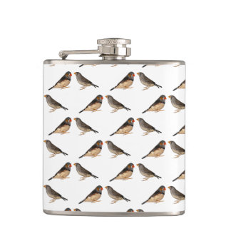 Zebra Finch Frenzy Hip Flask (choose colour)