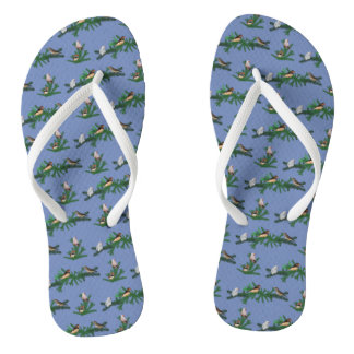 Zebra Finch Party Flip Flops (Blue)