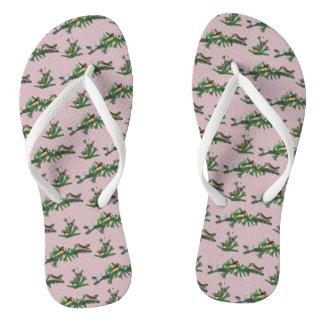 Zebra Finch Party Flip Flops (Pink)