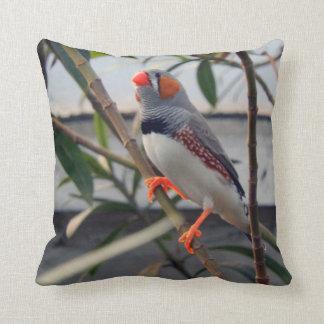Zebra Finch Throw Pillow