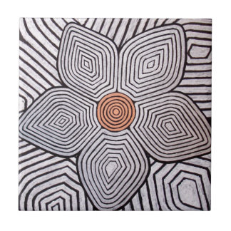 Zebra Flower Small Square Tile