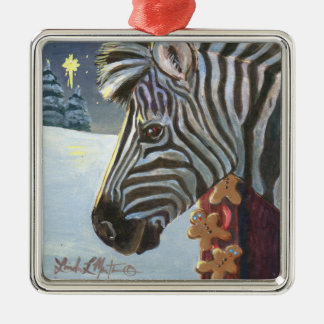 Zebra For Christmas Silver-Colored Square Decoration