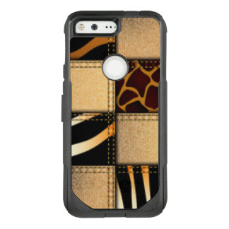 Zebra Giraffe Animal Print Jeans Collage OtterBox Commuter Google Pixel Case