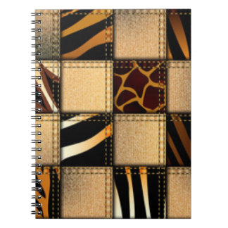 Zebra Giraffe Animal Print Jeans Collage Spiral Notebook
