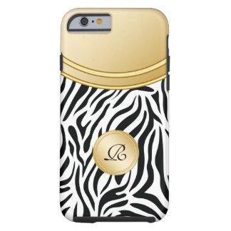 Zebra Gold Monogram Style Tough iPhone 6 Case