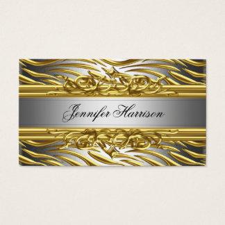 Zebra Gold On Gold Silver Elegant Business Card