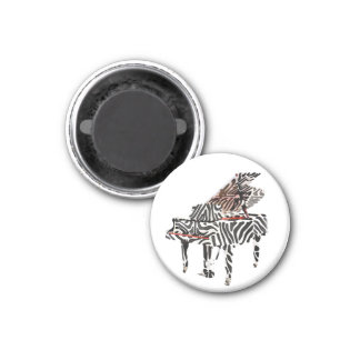 Zebra Grand Piano ~ Button 3 Cm Round Magnet