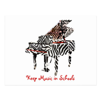 Zebra Grand Piano ~ Postcard / Invitaiton