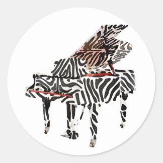 Zebra Grand Piano ~ Round Sticker