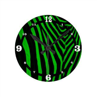 Zebra- Green Round Wall Clocks