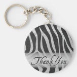 Zebra Grey and Black Pattern Thank You Basic Round Button Key Ring