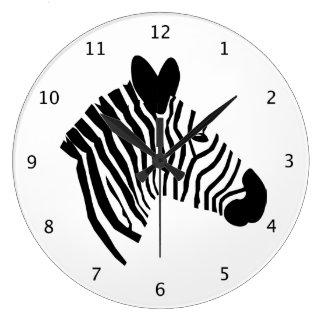 Zebra head black and white stripes beautiful art large clock